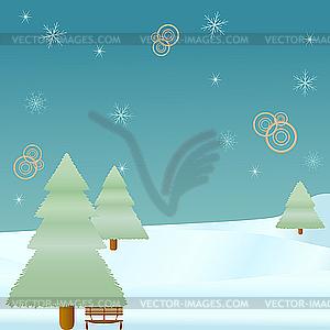 Winter-Tanne und Schneeflocken - Klipart
