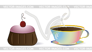 Clip Art Cake And Coffee : Cup of coffee and cake - vector clip art