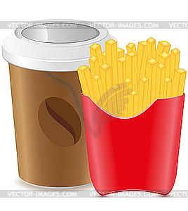Pappbecher mit Kaffee und Pommes Frites Kartoffel - Vektor-Bild