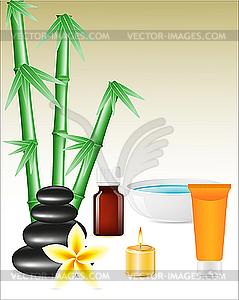 Spa-Zen-Steine und Bambus - vektorisiertes Bild