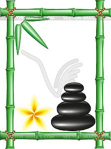 Spa-Zen-Steine und Rahmen aus Bambus - vektorisierte Grafik