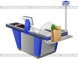 Kassenterminal und Einkaufstasche mit Lebensmitteln - Vektor-Klipart