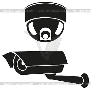 Schwarzweiße Icons von Überwachungskameras - Vector-Illustration