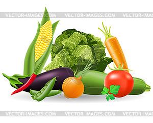 Stilleben mit Gemüse - Vektor Clip Art