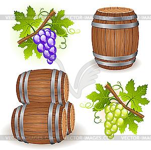 Holzfässer und Trauben - Vektor-Skizze
