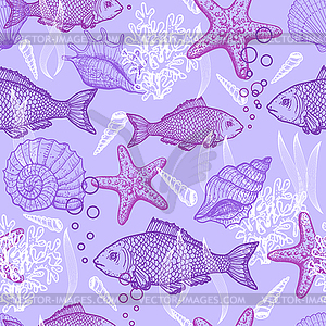 Sea nahtlose Muster - vektorisiertes Clipart