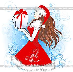 Weihnachtsfrau - farbige Vektorgrafik