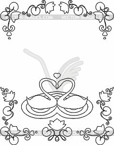 Zwei weiße Schwäne - Vector-Clipart / Vektorgrafik
