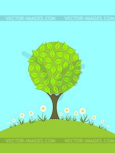 Ein Baum und Kamillen auf dem grünen Rasen - farbige Vektorgrafik