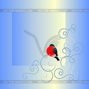 Dompfaff und Winter-Muster - Vektor Clip Art