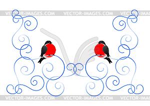 Dompfaff und Winter-Muster - Vektorgrafik-Design