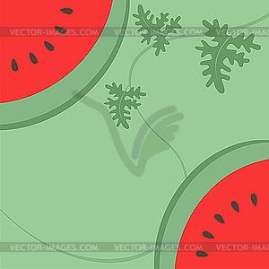 Wassermelone auf grünem Hintergrund - Vektorgrafik-Design