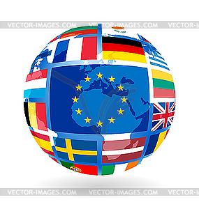Флаги стран ес на земном шаре