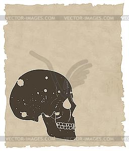 Brauner Grunge-Schädel auf altem Papier - Royalty-Free Vektor-Clipart