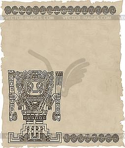 Maya- Schriftzeichen-Symbole auf altem Papier - Vector-Clipart