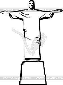Iesus Christus das Rio de Janeiro Statue Silhouette - Vektor-Klipart