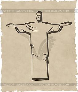 Iesus Christus das Rio de Janeiro Statue Silhouette - Vector Clip Art