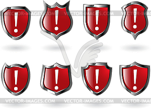 Set von roten Schilden - Royalty-Free Vektor-Clipart