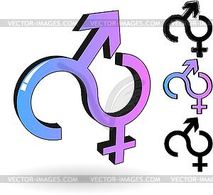 Мужской и женский символ - рисунок в векторе
