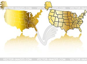 Gold-Karten von USA - Set - vektorisiertes Design