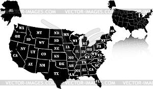 Set von schwarzen Landkarten der USA - Clipart