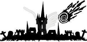 Halloween - Friedhof und Schloss - Stock Vektor-Clipart