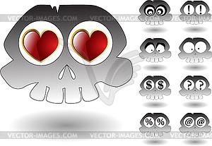Der Cartoon Schädel Satz - Clipart-Bild