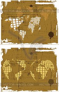 Die Retro-Grunge Weltkarte Set - Vektor Clip Art