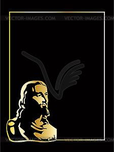Jesus das Gold auf schwarzem Hintergrund - Vektor-Design