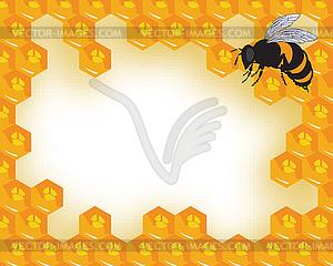 Die Bienen und Waben mit Honig - Vector-Bild