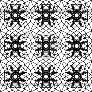 Einfache Spitze mit Gitter und Blumen - Vektor-Clipart EPS