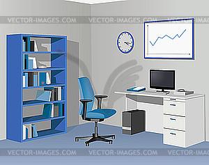 Büro in blauen Farben - Vektor-Clipart EPS