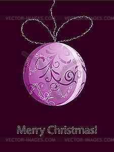 Weihnachtskarte mit rosa Kugel - Klipart