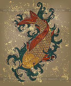 Japanisches Muster mit Koi-Fisch (Karpfen) - vektorisierte Abbildung