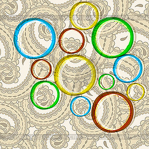 Helle Kreise auf orientalischem Paisley-HIntergrund - Vector-Bild