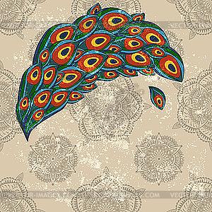 Pfauenfeder auf nahtloser Tapete - Vector-Illustration