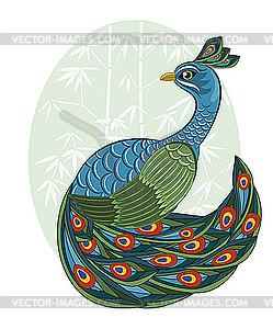 Pfau im chinesischen Stil - vektorisiertes Bild