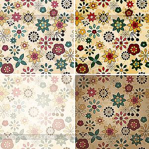 Nahtlose florale Frühjahrs-Muster - Vektor Clip Art