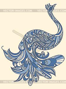 Pfau mit detailliertem Schwanz - Clipart-Bild