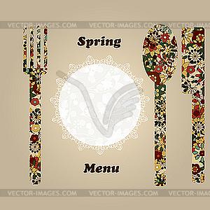 Menü-Vorlage mit Messer, Gabel, Serviette und Löffel - Stock Vektor-Bild