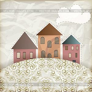 Retro-Hintergrund mit alten Häusern - Klipart