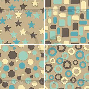 Vier abstrakte nahtlose Muster - Vektor-Clipart / Vektor-Bild