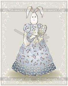 Osterkarte - Osterhase mit Ei - Clipart