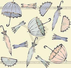 Hintergrund vonRegeschirmen, Handschuhen und Fächern - Vector-Illustration