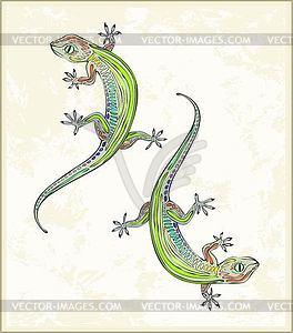 Illustration Eidechse. Grußkarte mit zwei Gecko. Ani - Stock Vektor-Bild