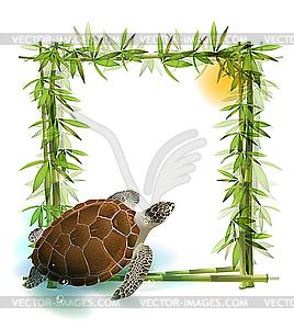 Tropischer Hintergrund mit Bambus, Sonne und Schildkröte - Stock Vektor-Clipart