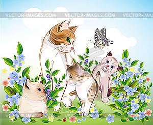 Glückliche Familie der Katzen - Vektorgrafik-Design