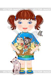 Kleines Mädchen mit lustigen Kätzchen - Vektor-Skizze