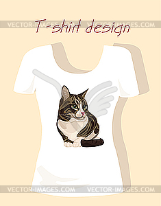 T-Shirt Design mit Tabby-Katze - Stock Vektor-Bild