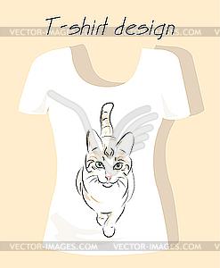 T-Shirt Design mit Umriss Silhouette Katze - Vektorgrafik-Design